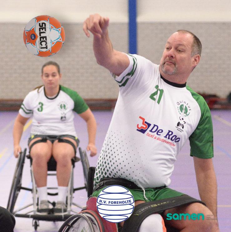 Rolstoel handbal sponsoring bij Samen Praktijk voor Ergotherapie regio bollenstreek