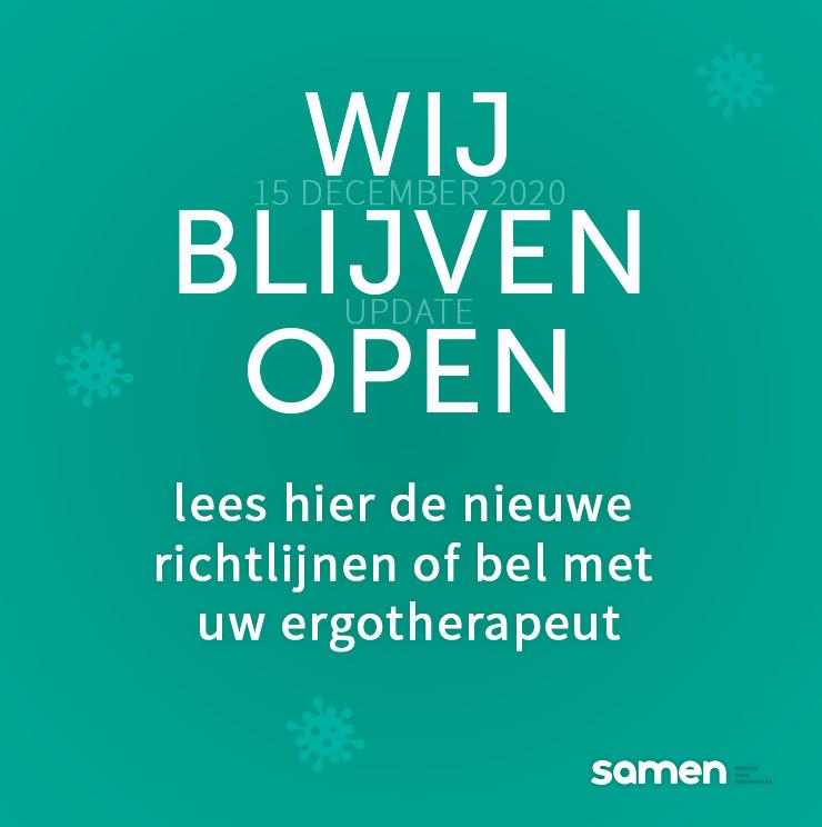 Covid-19 december 2020 geopend Samen, praktijk voor ergotherapie in